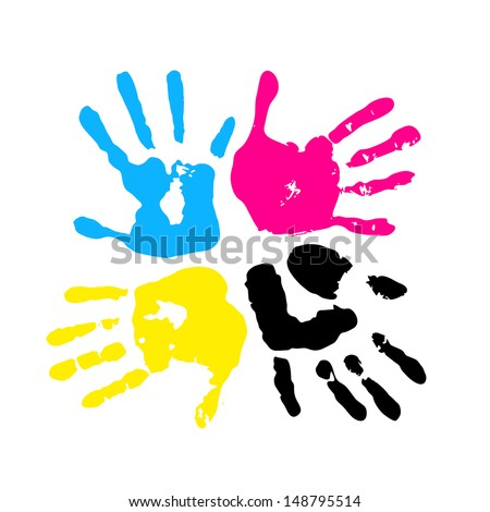Hand print. Four color ink for printing - stock vector