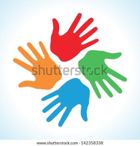 Hand Print icon 4 colors, vector logo illustration - stock vector
