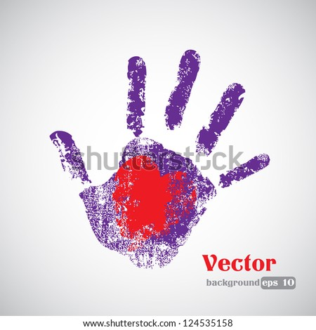 Hand Print - Isolated On Gray Background, Vector illustration - Graphic Design - stock vector