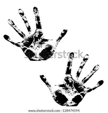 Hand print, skin texture pattern, vector illustration. - stock vector