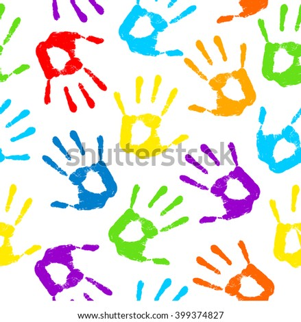 Hand print. Vector illustration .Seamless pattern, background