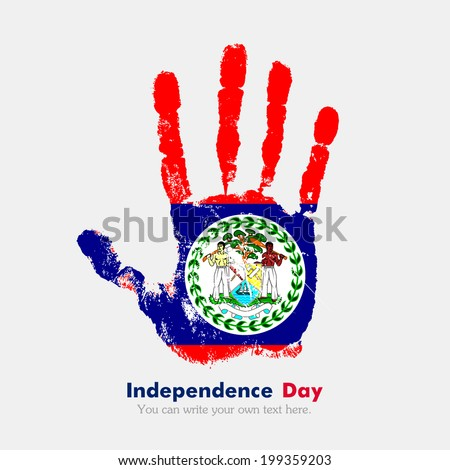 Hand print, which bears the flag. Independence Day. Grungy style. Grungy hand print with the flag. Hand print and five fingers. Used as an icon, card, greeting, printed materials. Flag of Belize