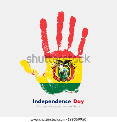 Hand print, which bears the flag. Independence Day. Grungy style. Grungy hand print with the flag. Hand print and five fingers. Used as an icon, card, greeting, printed materials. Flag of Bolivia