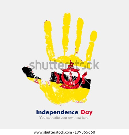 Hand print, which bears the flag. Independence Day. Grungy style. Grungy hand print with the flag. Hand print and five fingers. Used as an icon, card, greeting, printed materials. Flag of Brunei - stock vector