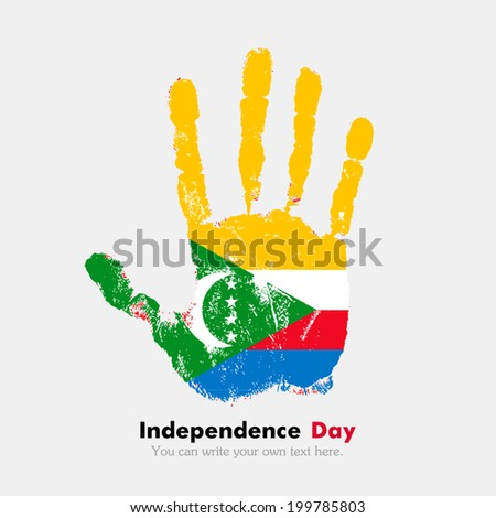 Hand print, which bears the flag. Independence Day. Grungy style. Grungy hand print with the flag. Hand print and five fingers. Used as an icon, card, greeting, printed materials. Flag of Comoros