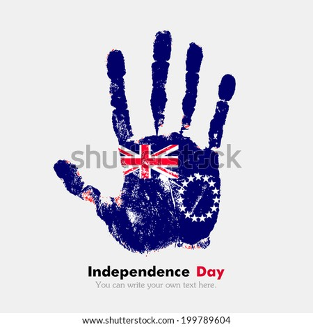 Hand print, which bears the flag. Independence Day. Grungy style. Grungy hand print with the flag. Hand print and five fingers. Used as an icon, card, greeting, printed materials. Flag of Cook Islands