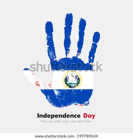 Hand print, which bears the flag. Independence Day. Grungy style. Grungy hand print with the flag. Hand print and five fingers. Used as an icon, card, greeting, printed materials. Flag of El Salvador