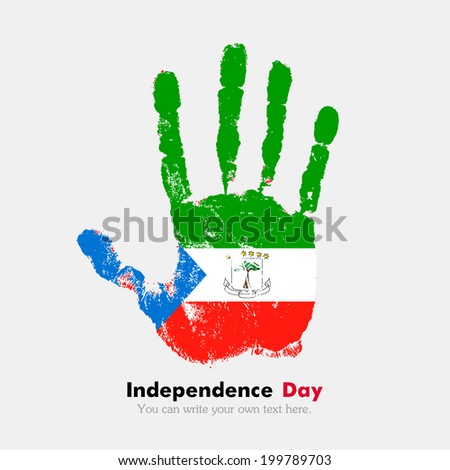Hand print, which bears the flag. Independence Day. Grungy style. Grungy hand print with the flag. Hand print and five fingers. Used as icon, card, greeting, printed. Flag of Equatorial Guinea