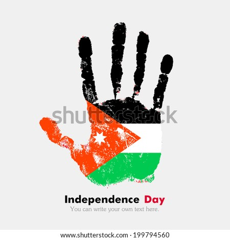 Hand print, which bears the flag. Independence Day. Grungy style. Grungy hand print with the flag. Hand print and five fingers. Used as an icon, card, greeting, printed materials. Flag of Jordan