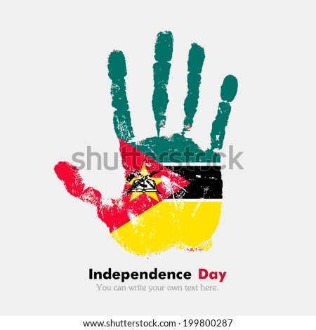 Hand print, which bears the flag. Independence Day. Grungy style. Grungy hand print with the flag. Hand print and five fingers. Used as an icon, card, greeting, printed materials. flag of Mozambique