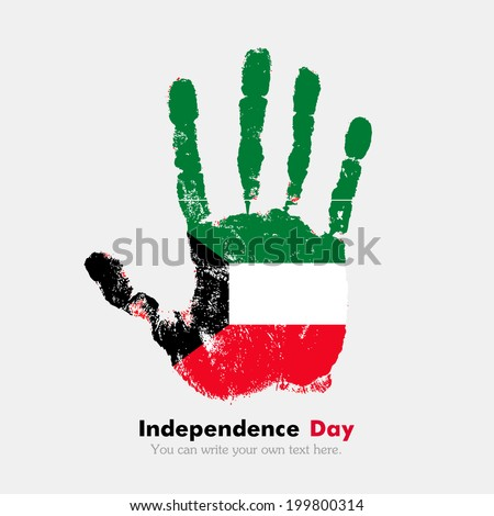 Hand print, which bears the flag. Independence Day. Grungy style. Grungy hand print with the flag. Hand print and five fingers. Used as an icon, card, greeting, printed materials. Flag of Kuwait