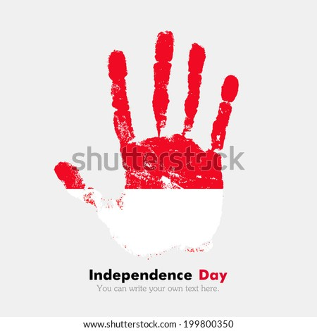 Hand print, which bears the flag. Independence Day. Grungy style. Grungy hand print with the flag. Hand print and five fingers. Used as an icon, card, greeting, printed materials. Flag of Monaco