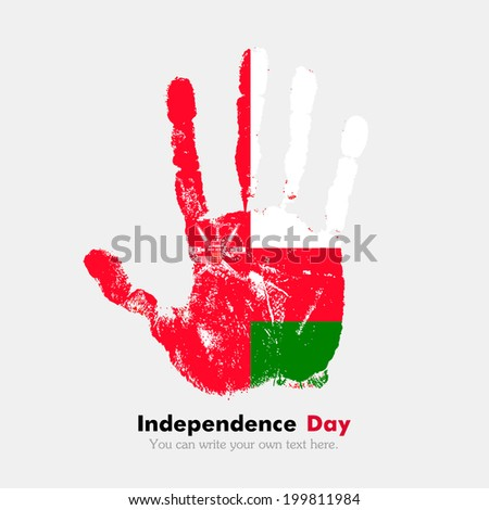 Hand print, which bears the flag. Independence Day. Grungy style. Grungy hand print with the flag. Hand print and five fingers. Used as an icon, card, greeting, printed materials. Flag of Oman