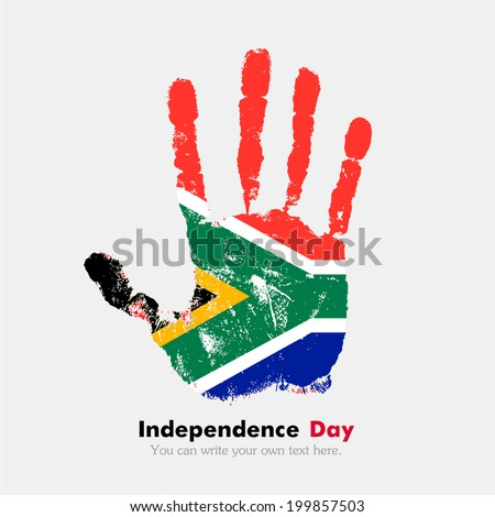 Hand print, which bears the flag. Independence Day. Grungy style. Grungy hand print with the flag. Hand print and five fingers. Used as an icon, card, greeting, printed materials. Flag of South Africa
