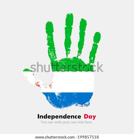 Hand print, which bears the flag. Independence Day. Grungy style. Grungy hand print with the flag. Hand print and five fingers. Used as an icon, card, greeting, printed materials. Flag of Sierra Leone