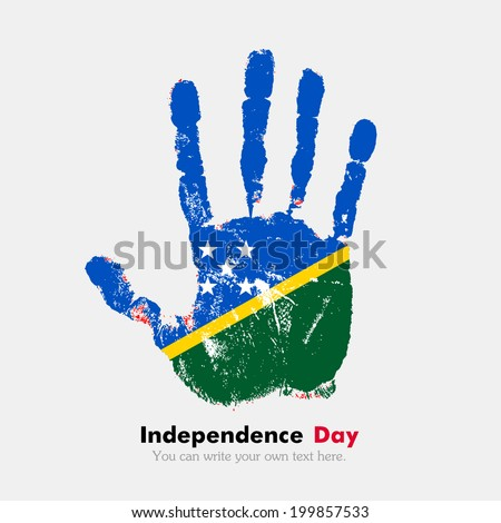 Hand print, which bears the flag. Independence Day. Grungy style. Grungy hand print with the flag. Hand print and five fingers. Used as icon, card, greeting, printed materials. Flag of Solomon Islands