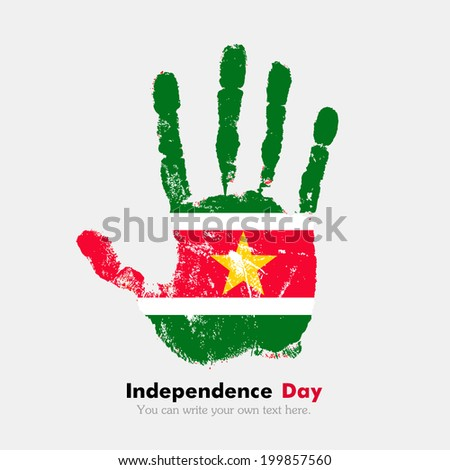 Hand print, which bears the flag. Independence Day. Grungy style. Grungy hand print with the flag. Hand print and five fingers. Used as an icon, card, greeting, printed materials. Flag of Suriname