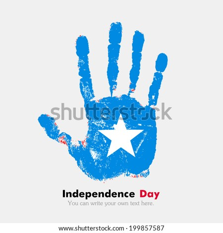 Hand print, which bears the flag. Independence Day. Grungy style. Grungy hand print with the flag. Hand print and five fingers. Used as an icon, card, greeting, printed materials. Flag of Somalia