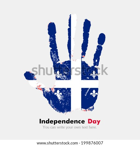 Hand print, which bears the flag. Independence Day. Grungy style. Grungy hand print with the flag. Hand print and five fingers. Used as an icon, card, greeting, printed materials. Quebec flag