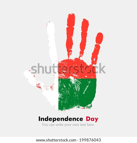 Hand print, which bears the flag. Independence Day. Grungy style. Grungy hand print with the flag. Hand print and five fingers. Used as an icon, card, greeting, printed materials. Flag of Madagascar