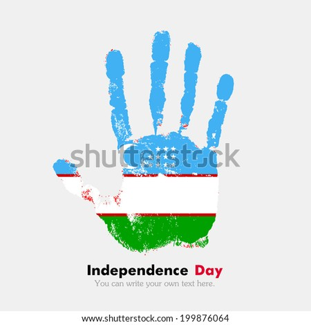 Hand print, which bears the flag. Independence Day. Grungy style. Grungy hand print with the flag. Hand print and five fingers. Used as an icon, card, greeting, printed materials. Uzbekistan flag