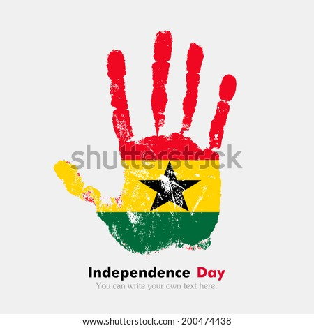Hand print, which bears the flag. Independence Day. Grungy style. Grungy hand print with the flag. Hand print and five fingers. Used as an icon, card, greeting, printed materials. Flag of Ghana