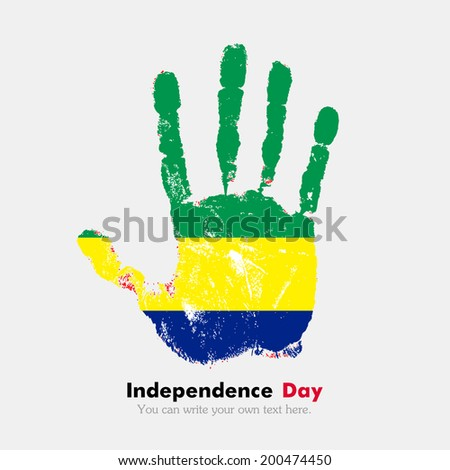 Hand print, which bears the flag. Independence Day. Grungy style. Grungy hand print with the flag. Hand print and five fingers. Used as an icon, card, greeting, printed materials. Flag of Gabon