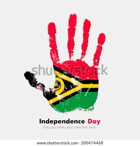 Hand print, which bears the flag. Independence Day. Grungy style. Grungy hand print with the flag. Hand print and five fingers. Used as an icon, card, greeting, printed materials. Flag of Vanuatu