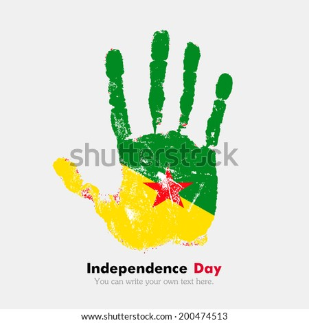 Hand print, which bears the flag. Independence Day. Grungy style. Grungy hand print with the flag. Hand print and five fingers. Used as an icon, card, greeting, printed materials. Flag Guiana