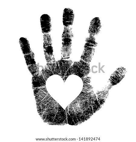 Hand print with heart - stock vector