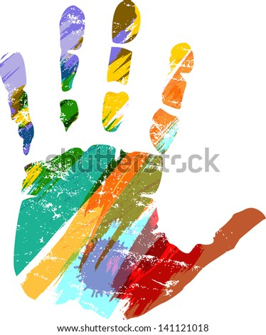 hand print with paint strokes, vector - stock vector