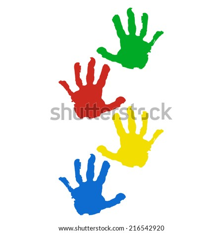 hand prints isolated on white background - stock vector