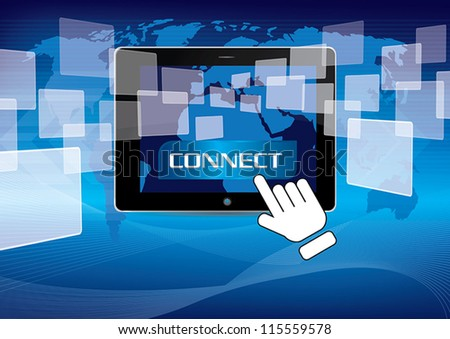 hand pushing connect social network - stock vector