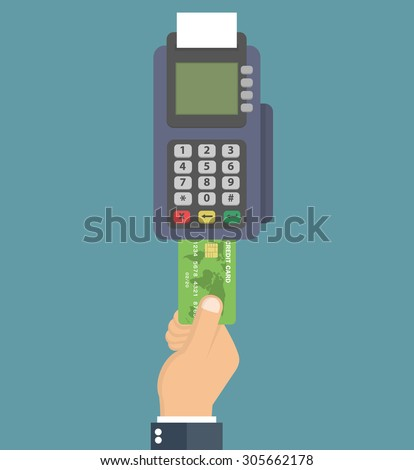 Hand pushing credit card into the pos terminal. Flat style - stock vector