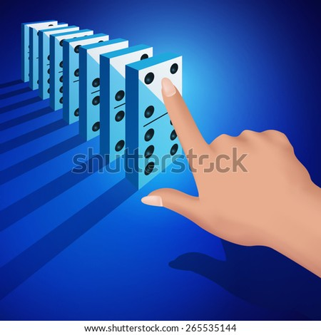 Hand pushing dominoes concept isolated on white background. Vector illustration - stock vector
