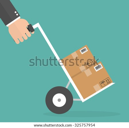 Hand pushing hand cart, or holding dolly. Delivery concept. Flat style - stock vector