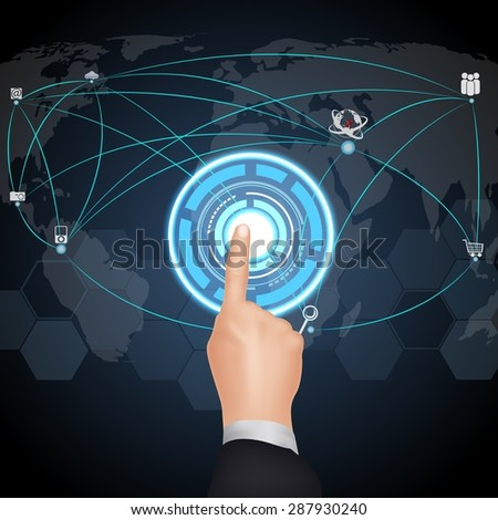 Hand pushing on a touch screen interface - stock vector