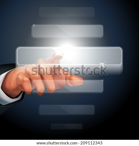 hand pushing touch screen interface over dark background