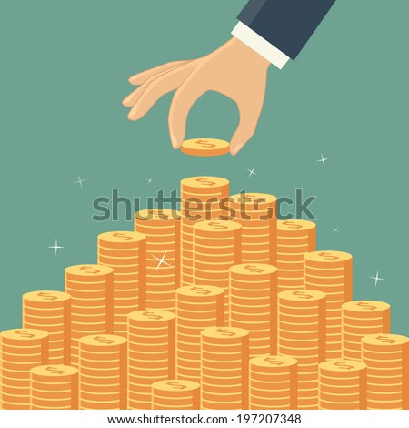 Hand put coin to money staircase - stock vector
