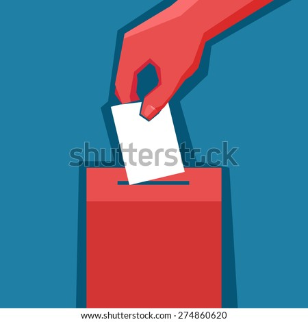 Hand puts ballot in the ballot box - stock vector