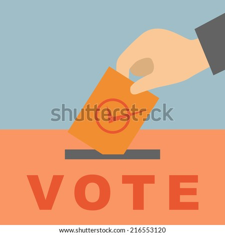Hand putting a voting ballot in a slot of box - stock vector