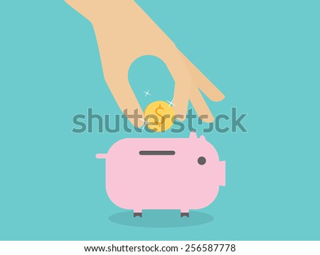 Hand putting coin into piggy bank - stock vector