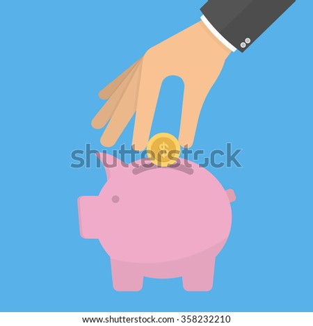 Hand putting or inserting golden coin into the piggy bank. Saving money concept. Flat style - stock vector