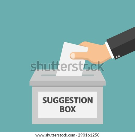 Hand putting paper in the suggestion box - Flat style - stock vector