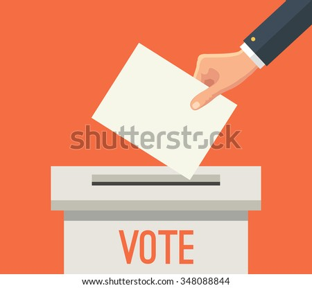 Hand putting voting paper in ballot box. Vector flat illustration - stock vector