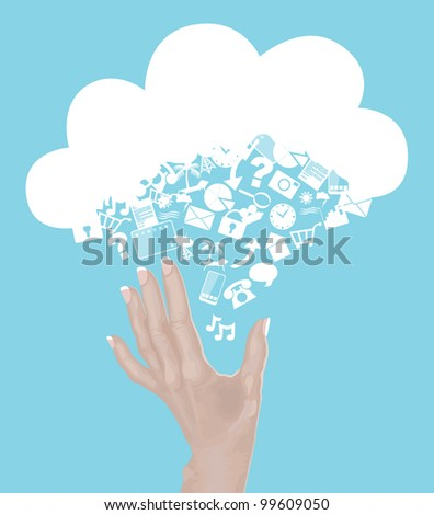 Hand Reaching for Cloud made of icons - cloud computing concept - stock vector
