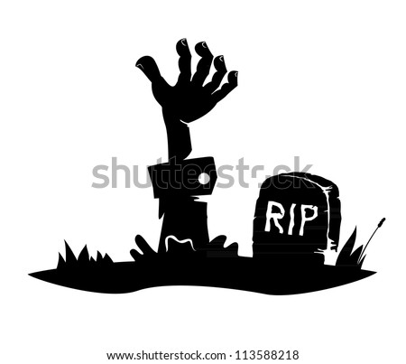 Hand reaching from the grave, simple drawing, icon - stock vector