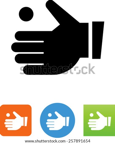 Hand receiving coin symbol for download. Vector icons for video, mobile apps, Web sites and print projects.  - stock vector