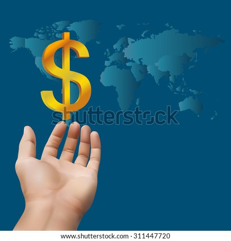 Hand receiving money or gold with world map background,concept for wealth ( map derived from NASA world map)
