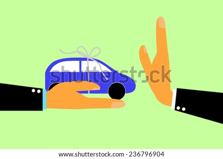 Hand - Refuse Gift (Car) From Other Hand  - stock vector